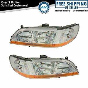 Headlights Headlamps Left Right Pair Set New For 98 00 Honda Accord