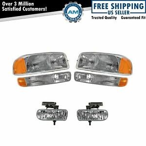 Headlight Headlamp Corner Parking Fog Driving Light Set Kit For Gmc Sierra Yukon