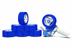 12 Rolls Blue Packing Carton Sealing Tape 2 Mil 2 X 110 Yds Free 2 Tape Gun