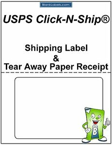 200 Usps Click n ship With Tear Off Receipt Half Sheet Label Receipt Paper
