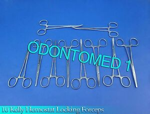 10 Kelly Hemostat Locking Forceps Straight curved 8 Surgical Instruments