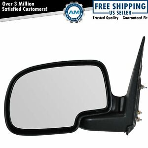 Gloss Black Manual Mirror Lh Left Driver For Chevy Yukon Silverado Pickup Truck