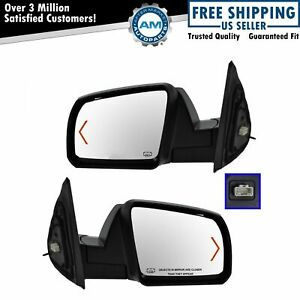 Power Heated Signal Side View Mirror Chrome Caps Covers Pair Set For Tundra