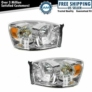 Headlights Headlamps Chrome Bezel Pair Set Of 2 For 06 08 Dodge Ram Pickup Truck