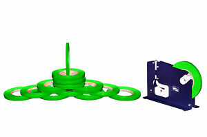 Poly Bag Sealer Tape With Dispenser 3 8 Inch X 180 Green Color 48 Rolls