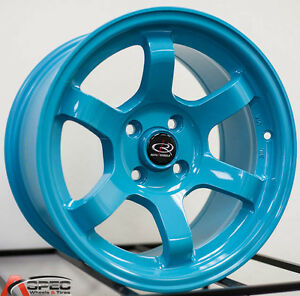 Rota Grid Concave 15x8 4x100 20 Teal Blue Wheel Fit Crx Del Sol Civic Si Ek6 9
