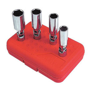 4pc Sunex Tools 3 8 Drive Universal Spark Plug Socket Set With Molded Case 8844