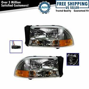 Performance Chrome Diamond Headlight Lamp Pair For Dodge Dakota Durango
