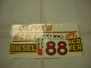 Oliver 88 Row Crop Diesel Tractor Decal Set Yellow Numbers New Free Shipping