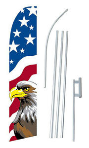 Complete 15 Usa Eagle Kit Swooper Feather Flutter Banner Sign Flag