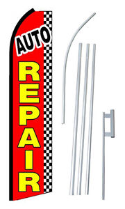 Complete 15 Auto Repair Checkered Swooper Feather Flutter Banner Sign Flag