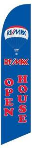 Windless Remax Open House Blue Tall Advertising Feather Swooper Banner Flag Only