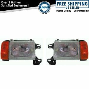 Headlights Headlamps Left Right Pair Set For 87 91 Ford Bronco F series Truck