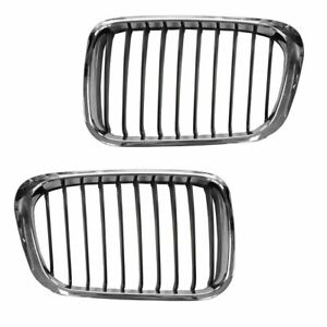 Grill Grille Chrome Insert Upper Pair Set For 99 01 Bmw 3 Series E46