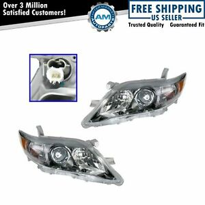 Headlights Headlamps Pair Set New For 10 11 Toyota Camry Se Us Built Models