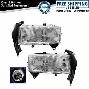 Headlight Headlamp W Bracket Pair Set For 97 04 Dodge Dakota Durango