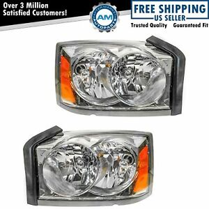 Headlights Headlamps Left Right Pair Set For 05 07 Dodge Dakota Pickup Truck