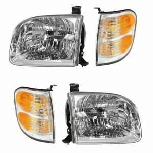 Headlights Parking Corner Lights Left Right Kit Set For Tundra Sequoia