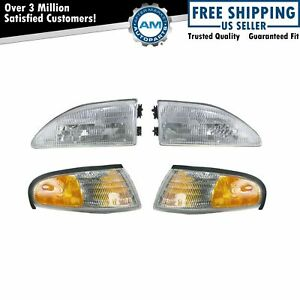 Headlights Parking Corner Lights Left Right Pair Set For 94 98 Ford Mustang