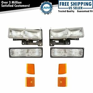 Headlights Corner Parking Lights Left Right Set Kit For Gmc Truck Suburban