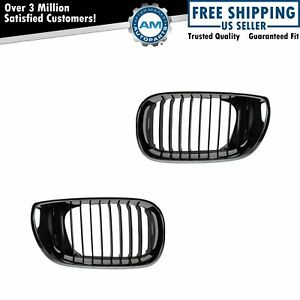 Upper Grille Grill Chrome Black Pair Set New For 02 05 Bmw 3 Series E46 4 Door