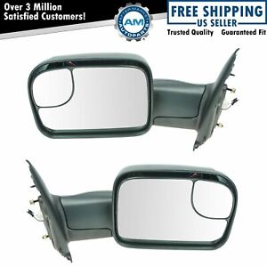 Towing Mirror Flip Up Power Heated Signal Pair Set For Dodge Ram Pickup Truck