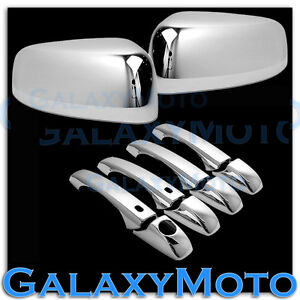 Chrome Mirror 4 Door Handle smart Hole Cover Combo For 11 14 Jeep Grand Cherokee
