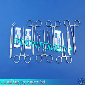 Set Of 12 Minor Surgical Instruments Sugery Forceps Kit 50 Scalpel Blades 10