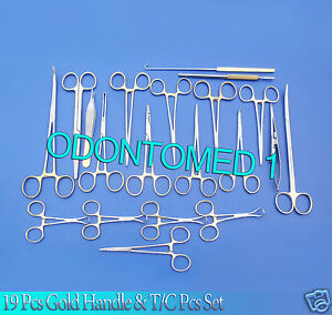 19 Pcs Gold Handle General Canine Spay Pack Surgical Instruments Set Kit Ds 1054