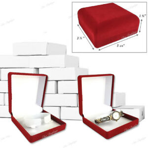 Lot Of 12 Velour Watch Gift Boxes Red Watch Box Wholesale Jewelry Boxes