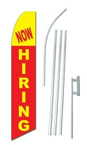 Now Hiring Complete 15 Kit Swooper Feather Flutter Banner Sign Flag