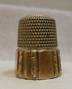 Antique Sterling Silver 14k Gold Thimble By Simons Bros Co Circa 1900s