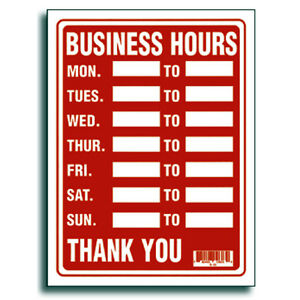 Red White 9 X 12 Inch Flexible Plastic Business Hours Sign 2 Pack