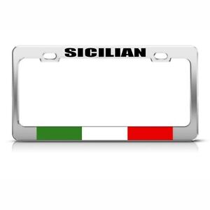 Sicilian Italian Italy Sicily Country Metal License Plate Frame Tag Holder