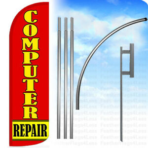 Computer Repair Windless Swooper Feather Banner Sign Flag 15 Kit Rq