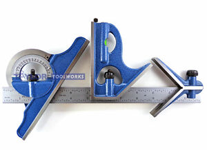 Pec 12 4r 4 Pc Combination Machinist Square Protractor 1 64 1 32 1 16 1 8
