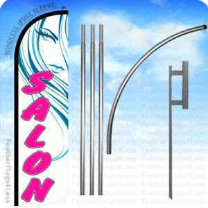 Salon Windless Swooper Feather Flag Kit Banner Sign Wq