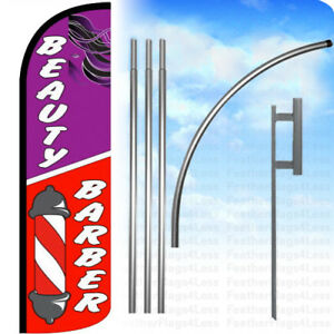 Beauty Barber Windless Swooper Feather Flag Kit Banner Sign Q