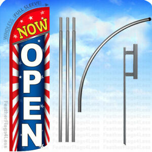 Now Open Windless Swooper Feather Flag 15 Kit Banner Sign Starburst Rq