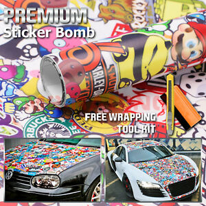 12 X60 St Anime Cartoon Stickerbomb Car Vinyl Sticker Wrap Decal Sheet