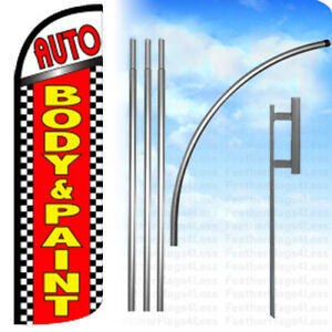 Auto Body Paint Windless Swooper Flag Kit Feather Banner Sign Chrq