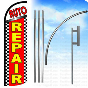Auto Repair Windless Swooper Feather Full Sleeve Banner Sign Flag Kit Chrq