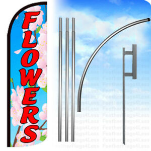 Flowers Windless Swooper Flag Kit Feather Banner Sign Bq
