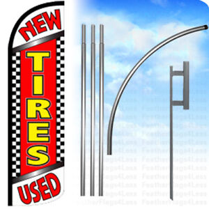 New Used Tires Windless Swooper Feather Flag Kit Banner Sign Chrq