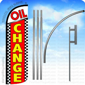 Oil Change Windless Swooper Flag Kit Feather Banner Sign Chrq