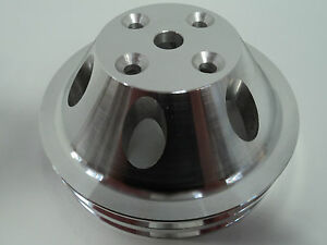 Sb Chevy Aluminum Water Pump Pulley 2 Groove Lwp Long Water Pump Sbc 327 305 350