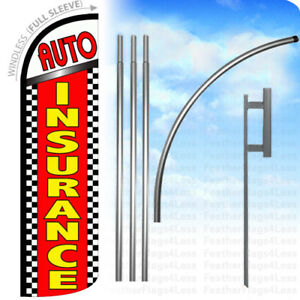 Auto Insurance Windless Swooper Flag Kit Feather Sign Checker Rq