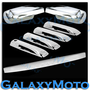 Triple Chrome Mirror 4 Door Handle tailgate Cover For 05 10 Jeep Grand Cherokee