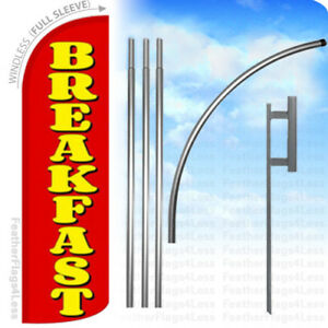 Breakfast Windless Swooper Feather Full Sleeve Banner Sign Flag Kit Rq