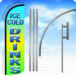 Ice Cold Drinks Windless Swooper Feather Banner Sign Tall Flag 15 Kit Gq